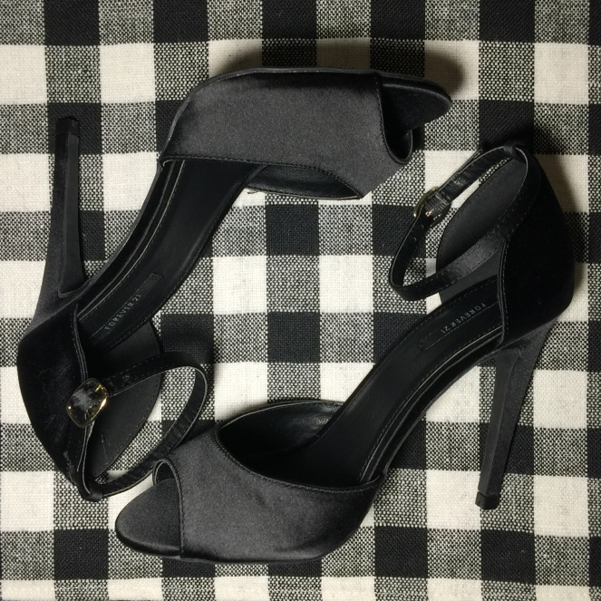 a pair of two-strap heels